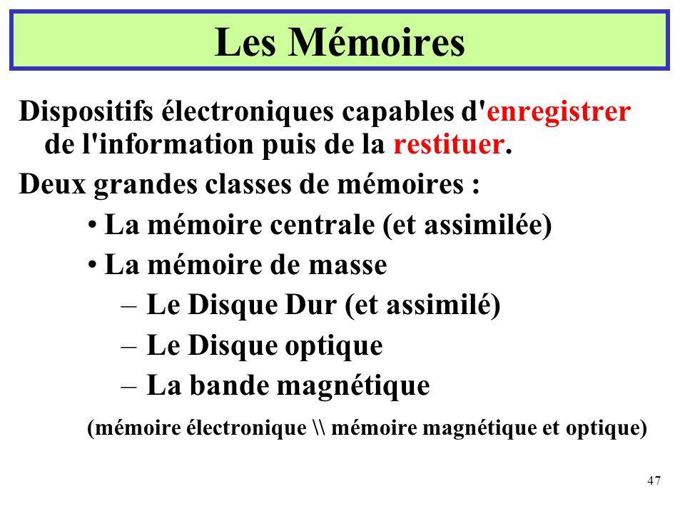 47 Les Mémoires Dispositifs électroniques capables d'enregistrer de l'information puis de la restituer. Deux grandes classes de mémoires : La mémoire