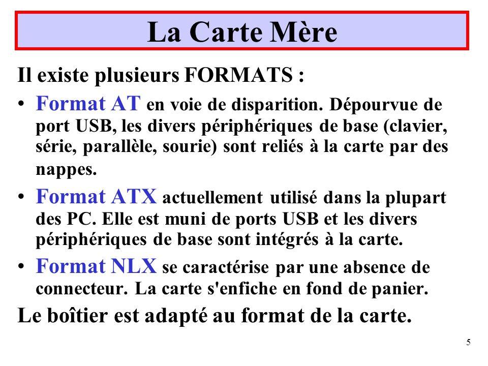 5 La Carte Mère Il existe plusieurs FORMATS : Format AT en voie de disparition. Dépourvue de port USB, les divers périphériques de base (clavier, séri