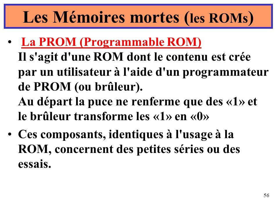 56 Les Mémoires mortes ( les ROMs ) La PROM (Programmable ROM) Il s'agit d'une ROM dont le contenu est crée par un utilisateur à l'aide d'un programma