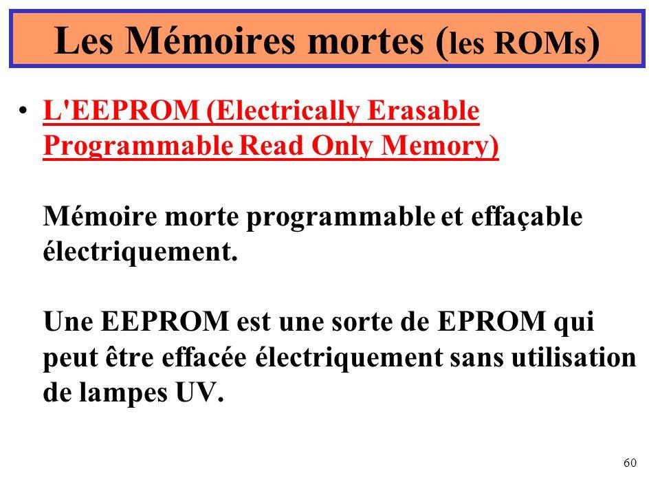 60 L'EEPROM (Electrically Erasable Programmable Read Only Memory) Mémoire morte programmable et effaçable électriquement. Une EEPROM est une sorte de