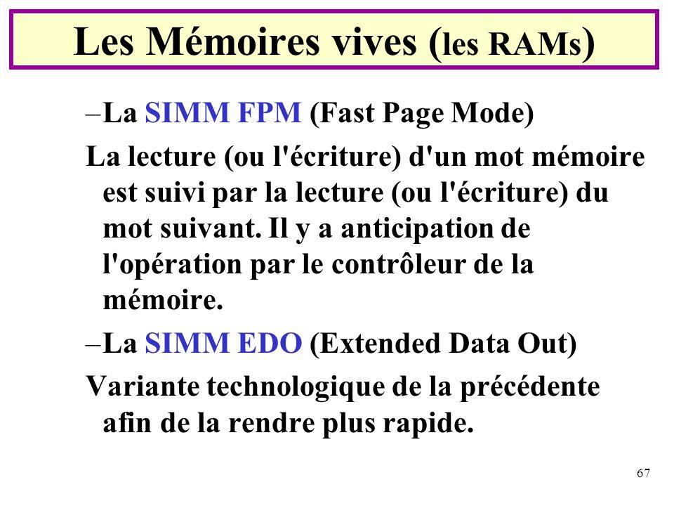 67 –La SIMM FPM (Fast Page Mode) La lecture (ou l'écriture) d'un mot mémoire est suivi par la lecture (ou l'écriture) du mot suivant. Il y a anticipat