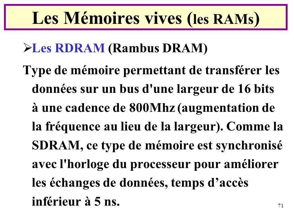 71 Les RDRAM (Rambus DRAM) Type de mémoire permettant de transférer les données sur un bus d'une largeur de 16 bits à une cadence de 800Mhz (augmentat