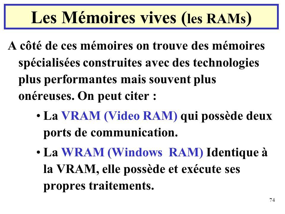 74 A côté de ces mémoires on trouve des mémoires spécialisées construites avec des technologies plus performantes mais souvent plus onéreuses. On peut