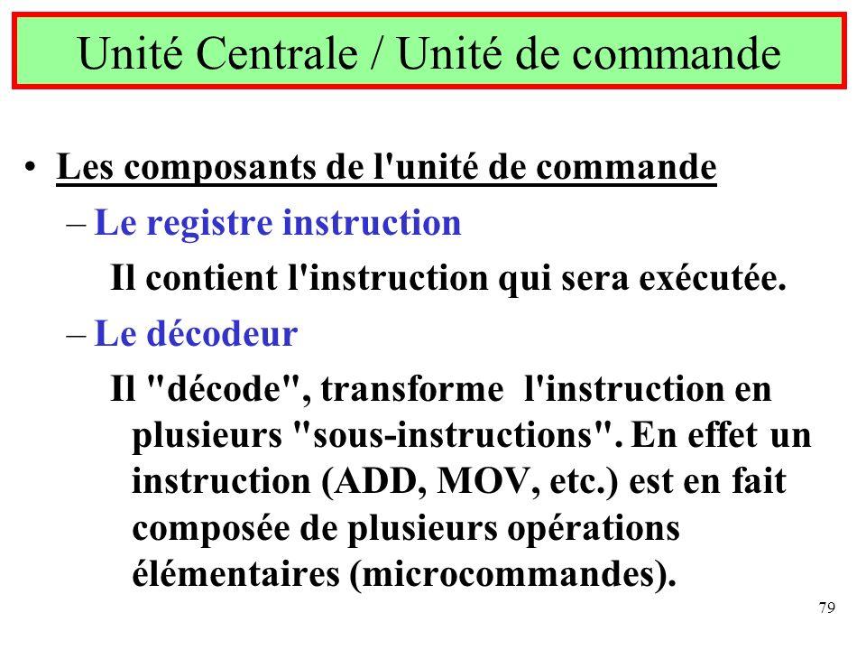 79 Les composants de l'unité de commande –Le registre instruction Il contient l'instruction qui sera exécutée. –Le décodeur Il