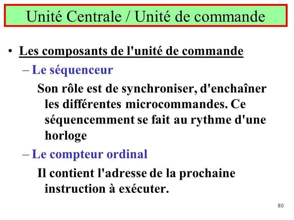 80 Les composants de l'unité de commande –Le séquenceur Son rôle est de synchroniser, d'enchaîner les différentes microcommandes. Ce séquencemment se