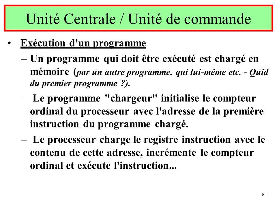 81 Exécution d'un programme –Un programme qui doit être exécuté est chargé en mémoire ( par un autre programme, qui lui-même etc. - Quid du premier pr