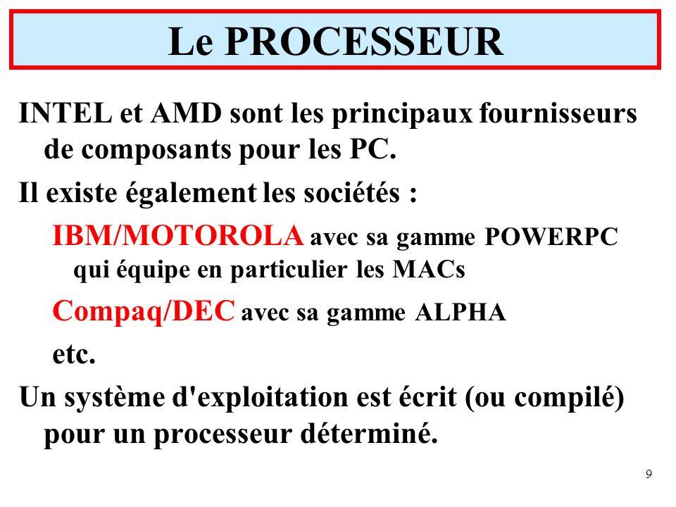 9 INTEL et AMD sont les principaux fournisseurs de composants pour les PC. Il existe également les sociétés : IBM/MOTOROLA avec sa gamme POWERPC qui é