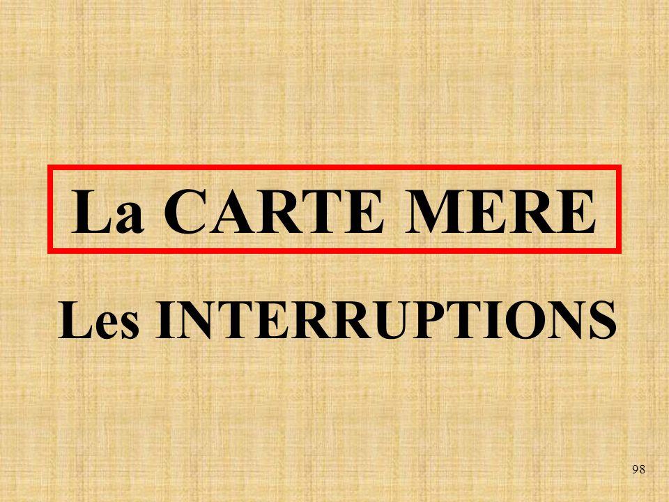 98 Les INTERRUPTIONS La CARTE MERE