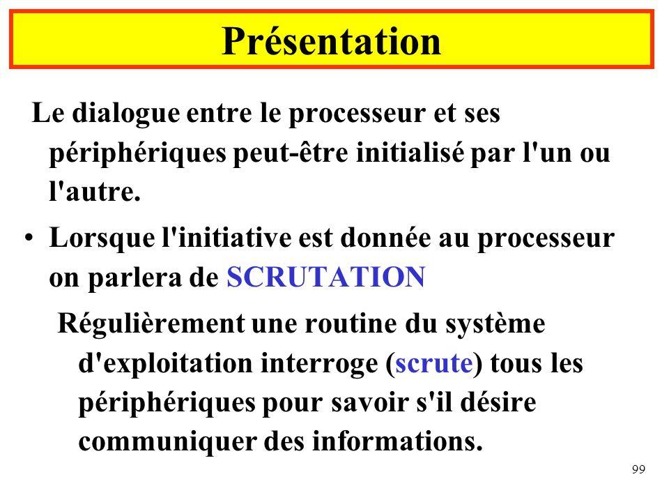 99 Présentation Le dialogue entre le processeur et ses périphériques peut-être initialisé par l'un ou l'autre. Lorsque l'initiative est donnée au proc
