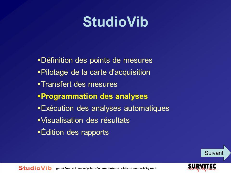 gestion et analyse de mesures vibro-acoustiques StudioVib Définition des points de mesures Pilotage de la carte d'acquisition Transfert des mesures Pr