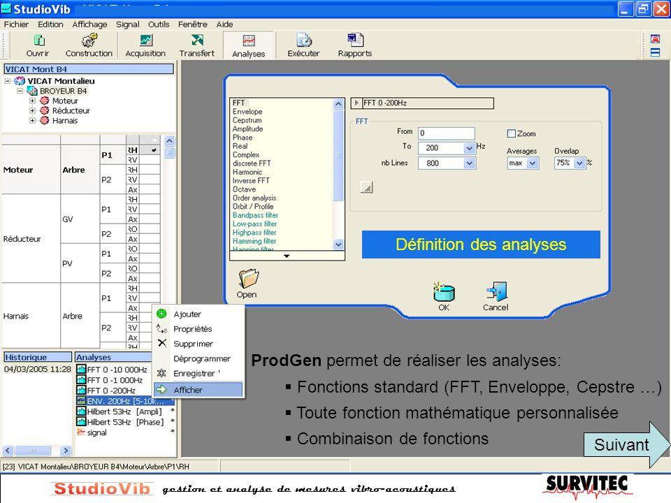 gestion et analyse de mesures vibro-acoustiques ProdGen permet de réaliser les analyses: Fonctions standard (FFT, Enveloppe, Cepstre …) Toute fonction