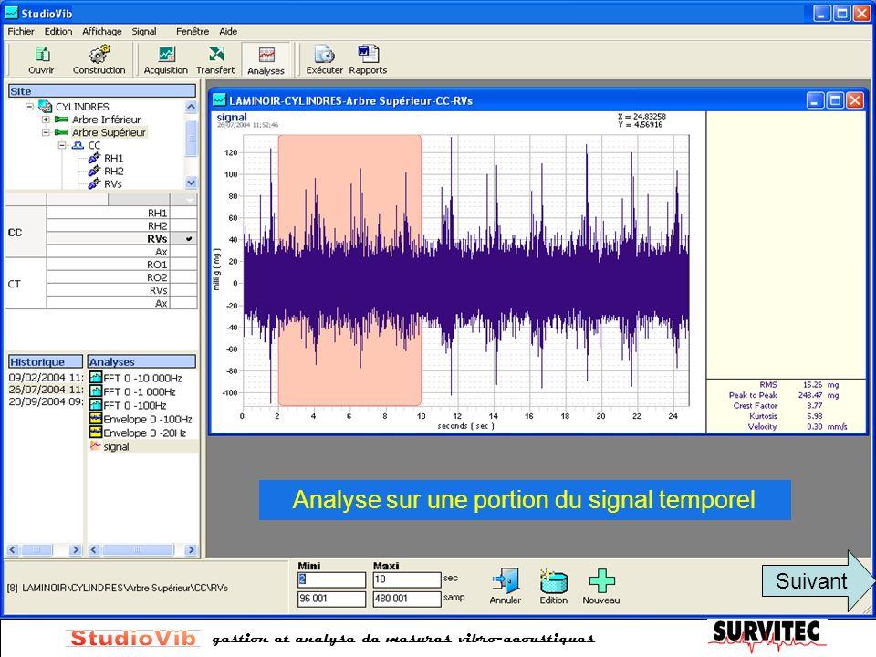 gestion et analyse de mesures vibro-acoustiques Analyse sur une portion du signal temporel Suivant