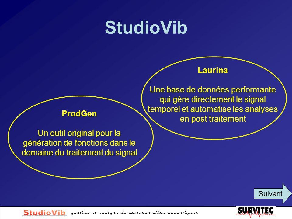 gestion et analyse de mesures vibro-acoustiques StudioVib Laurina Une base de données performante qui gère directement le signal temporel et automatis