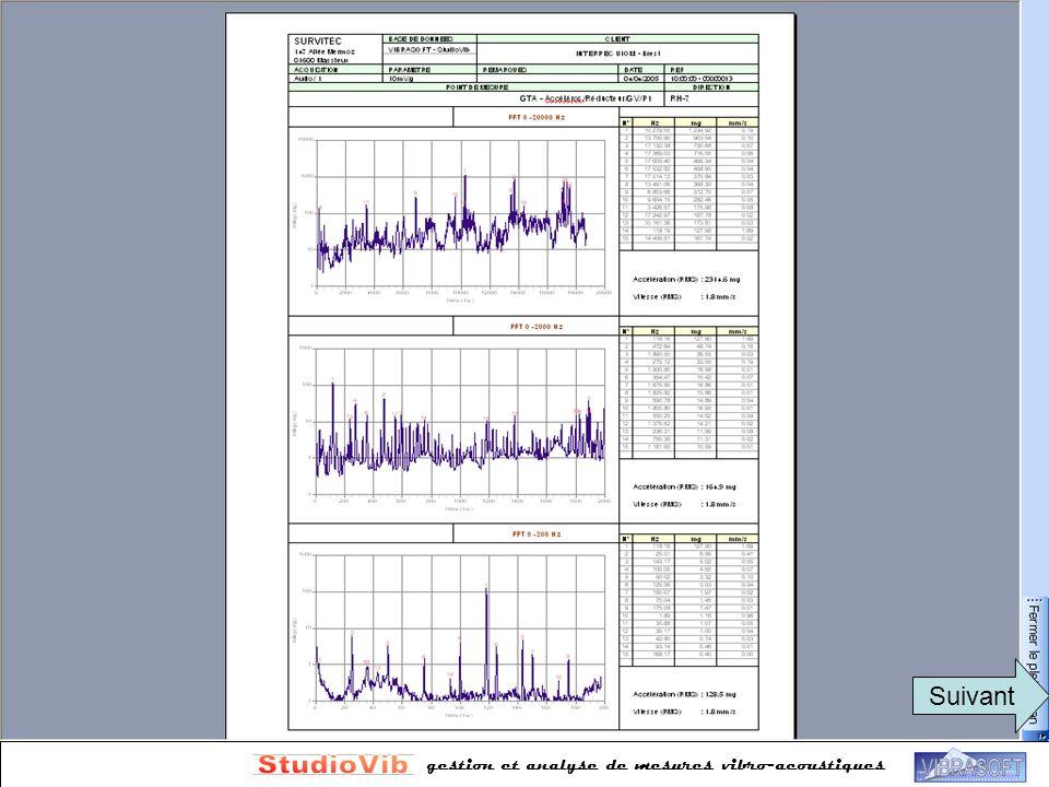 gestion et analyse de mesures vibro-acoustiques Rapports automatisés Plusieurs formats disponibles Suivant