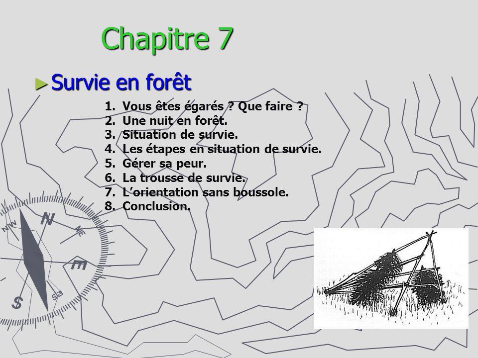 Chapitre 7 Survie en forêt 1.Vous êtes égarés ? Que faire ? 2.Une nuit en forêt. 3.Situation de survie. 4.Les étapes en situation de survie. 5.Gérer s