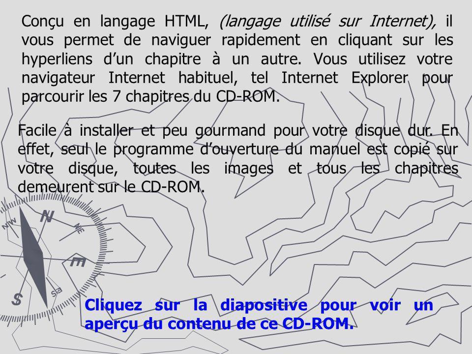 Conçu en langage HTML, (langage utilisé sur Internet), il vous permet de naviguer rapidement en cliquant sur les hyperliens dun chapitre à un autre. V
