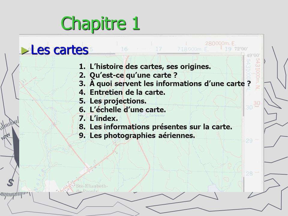 Chapitre 1 Les cartes 1.Lhistoire des cartes, ses origines. 2.Quest-ce quune carte ? 3.À quoi servent les informations dune carte ? 4.Entretien de la