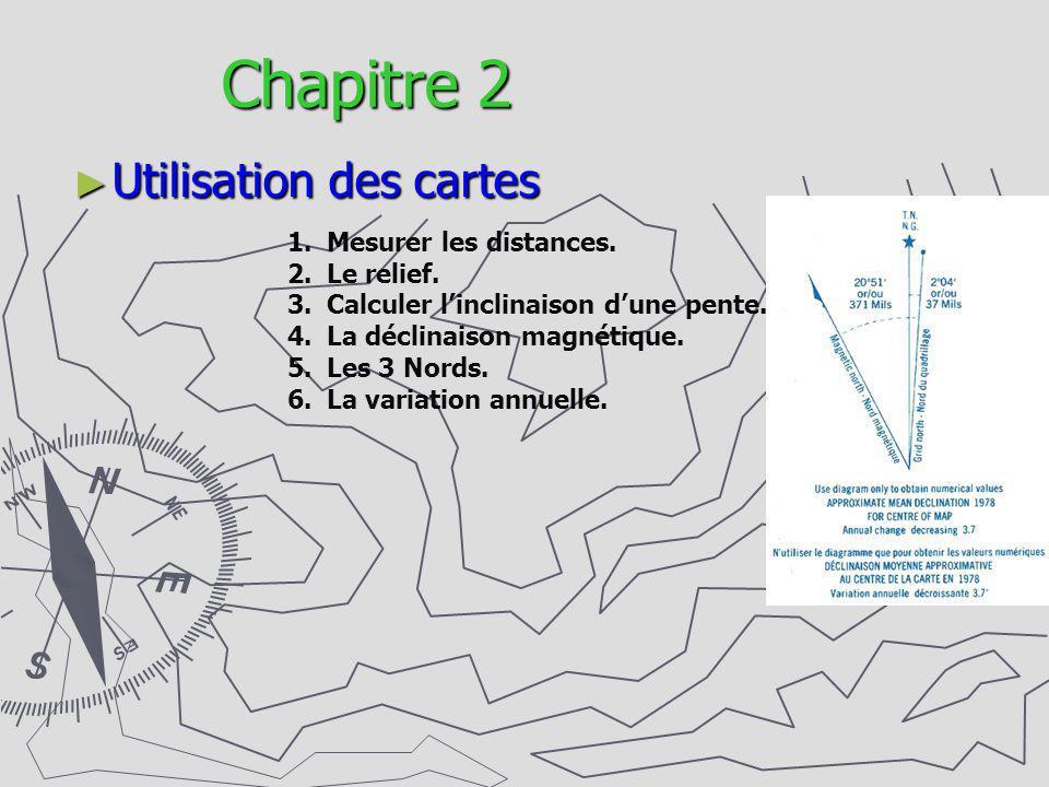 Chapitre 2 Utilisation des cartes 1.Mesurer les distances. 2.Le relief. 3.Calculer linclinaison dune pente. 4.La déclinaison magnétique. 5.Les 3 Nords