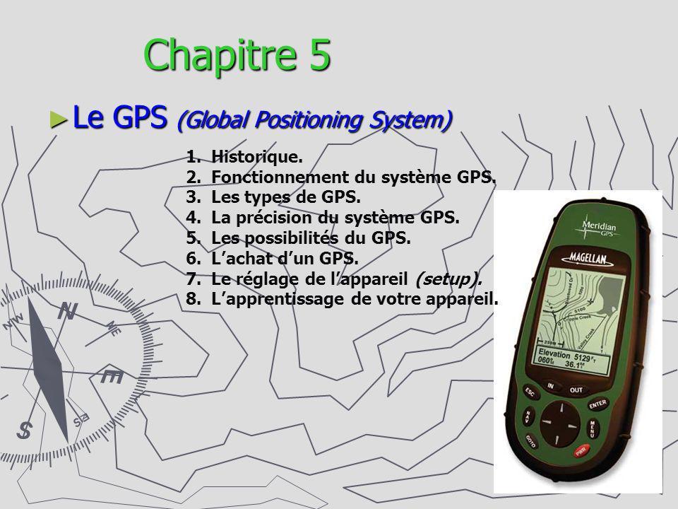 Chapitre 5 Le GPS (Global Positioning System) 1.Historique. 2.Fonctionnement du système GPS. 3.Les types de GPS. 4.La précision du système GPS. 5.Les