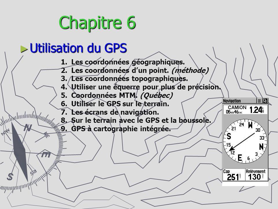 Chapitre 6 Utilisation du GPS 1.Les coordonnées géographiques. 2.Les coordonnées dun point. (méthode) 3.Les coordonnées topographiques. 4.Utiliser une