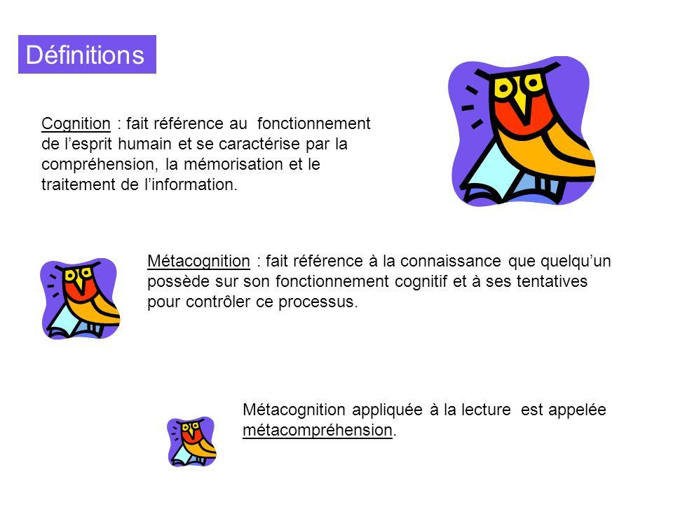 Définitions Cognition : fait référence au fonctionnement de lesprit humain et se caractérise par la compréhension, la mémorisation et le traitement de