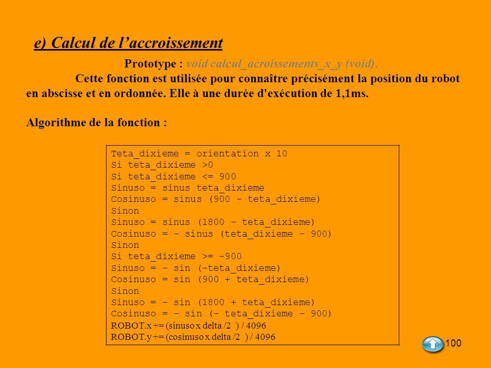 100 e) Calcul de laccroissement Prototype : void calcul_acroissements_x_y (void). Cette fonction est utilisée pour connaître précisément la position d