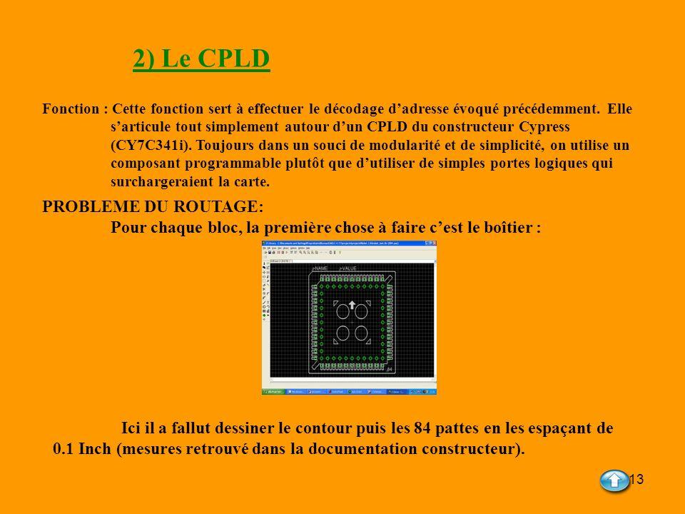 13 2) Le CPLD Fonction : Cette fonction sert à effectuer le décodage dadresse évoqué précédemment. Elle sarticule tout simplement autour dun CPLD du c