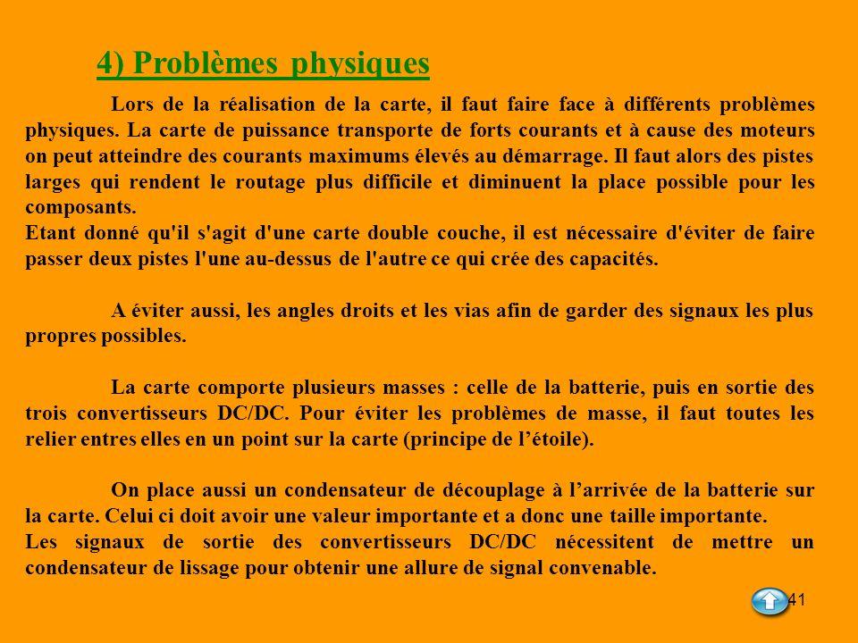 41 4) Problèmes physiques Lors de la réalisation de la carte, il faut faire face à différents problèmes physiques. La carte de puissance transporte de