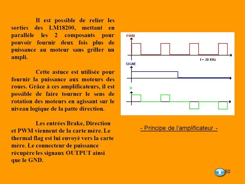 50 - Principe de lamplificateur - Il est possible de relier les sorties des LM18200, mettant en parallèle les 2 composants pour pouvoir fournir deux f