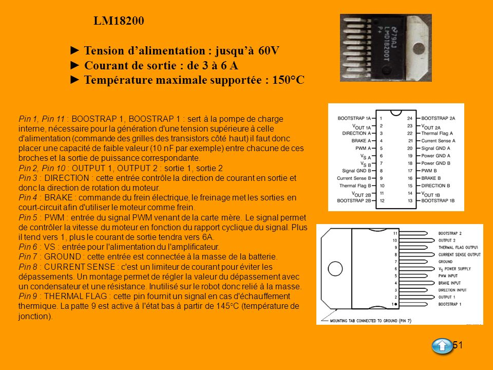 51 LM18200 Tension dalimentation : jusquà 60V Courant de sortie : de 3 à 6 A Température maximale supportée : 150°C Pin 1, Pin 11 : BOOSTRAP 1, BOOSTR