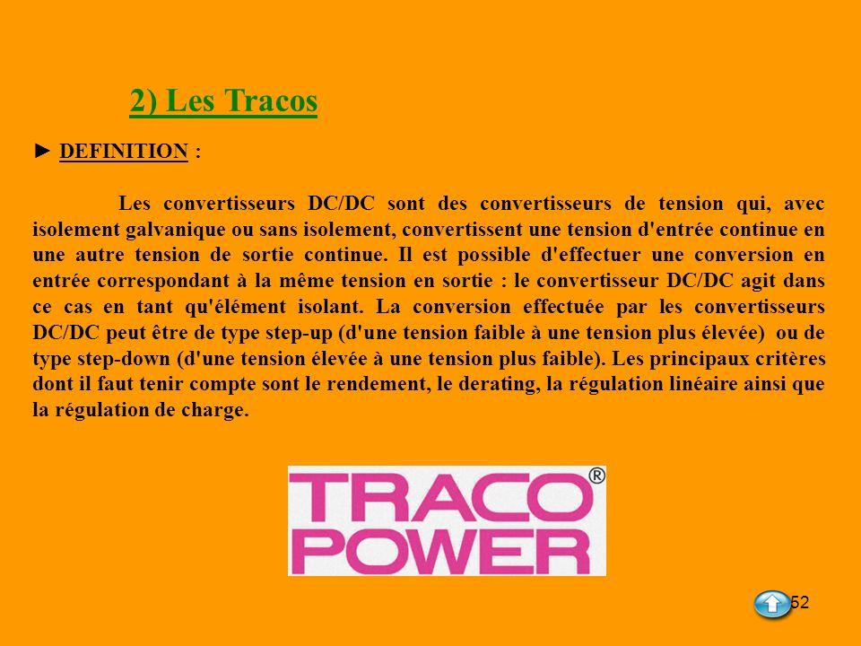52 2) Les Tracos DEFINITION : Les convertisseurs DC/DC sont des convertisseurs de tension qui, avec isolement galvanique ou sans isolement, convertiss