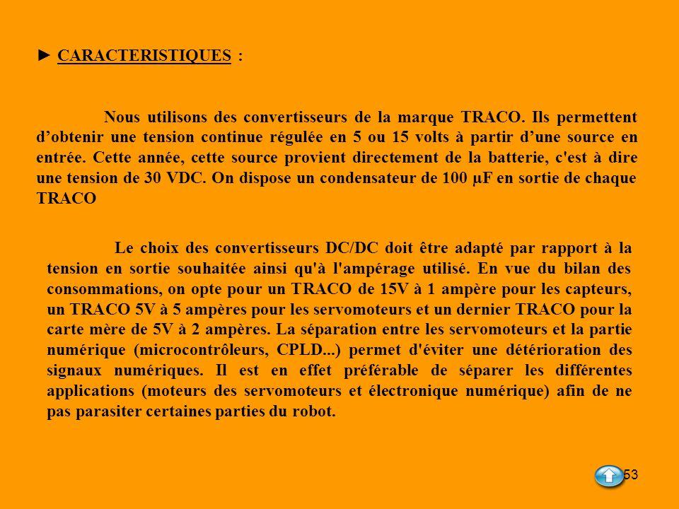 53 CARACTERISTIQUES : Nous utilisons des convertisseurs de la marque TRACO. Ils permettent dobtenir une tension continue régulée en 5 ou 15 volts à pa