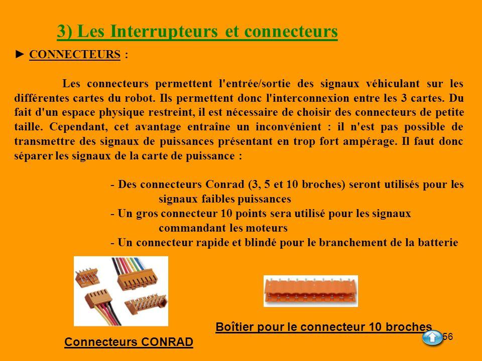 56 3) Les Interrupteurs et connecteurs CONNECTEURS : Les connecteurs permettent l'entrée/sortie des signaux véhiculant sur les différentes cartes du r