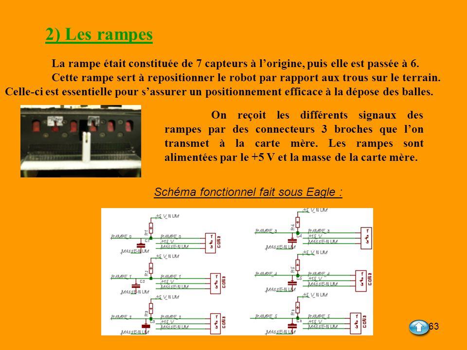 63 2) Les rampes La rampe était constituée de 7 capteurs à lorigine, puis elle est passée à 6. Cette rampe sert à repositionner le robot par rapport a