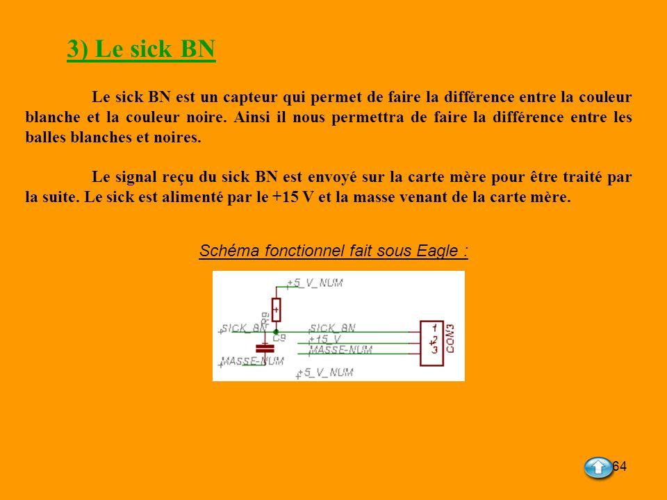 64 3) Le sick BN Le sick BN est un capteur qui permet de faire la différence entre la couleur blanche et la couleur noire. Ainsi il nous permettra de