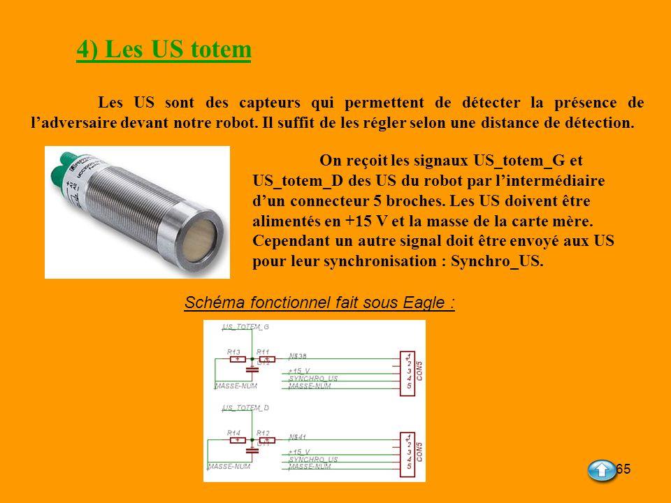 65 4) Les US totem Les US sont des capteurs qui permettent de détecter la présence de ladversaire devant notre robot. Il suffit de les régler selon un