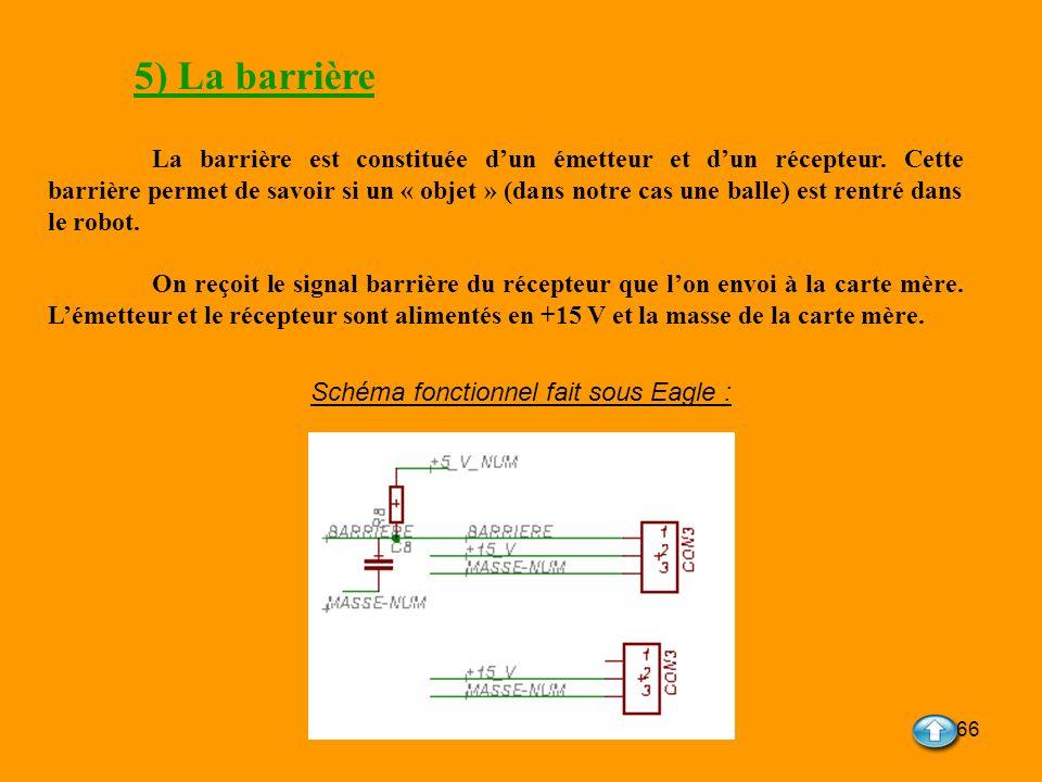 66 5) La barrière La barrière est constituée dun émetteur et dun récepteur. Cette barrière permet de savoir si un « objet » (dans notre cas une balle)