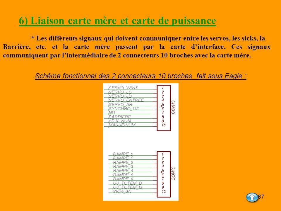 67 6) Liaison carte mère et carte de puissance * Les différents signaux qui doivent communiquer entre les servos, les sicks, la Barrière, etc. et la c