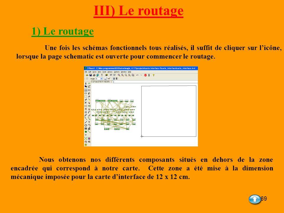 69 III) Le routage Une fois les schémas fonctionnels tous réalisés, il suffit de cliquer sur licône, lorsque la page schematic est ouverte pour commen