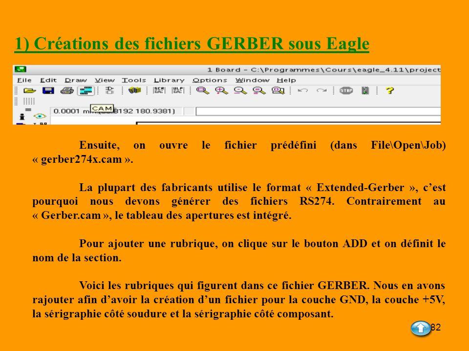 82 1) Créations des fichiers GERBER sous Eagle Ensuite, on ouvre le fichier prédéfini (dans File\Open\Job) « gerber274x.cam ». La plupart des fabrican