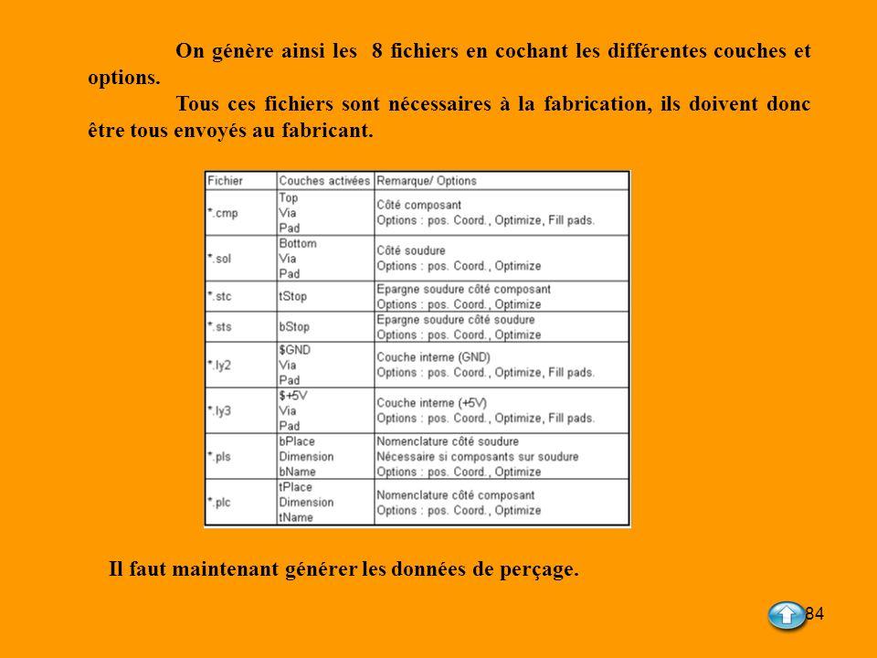 84 On génère ainsi les 8 fichiers en cochant les différentes couches et options. Tous ces fichiers sont nécessaires à la fabrication, ils doivent donc