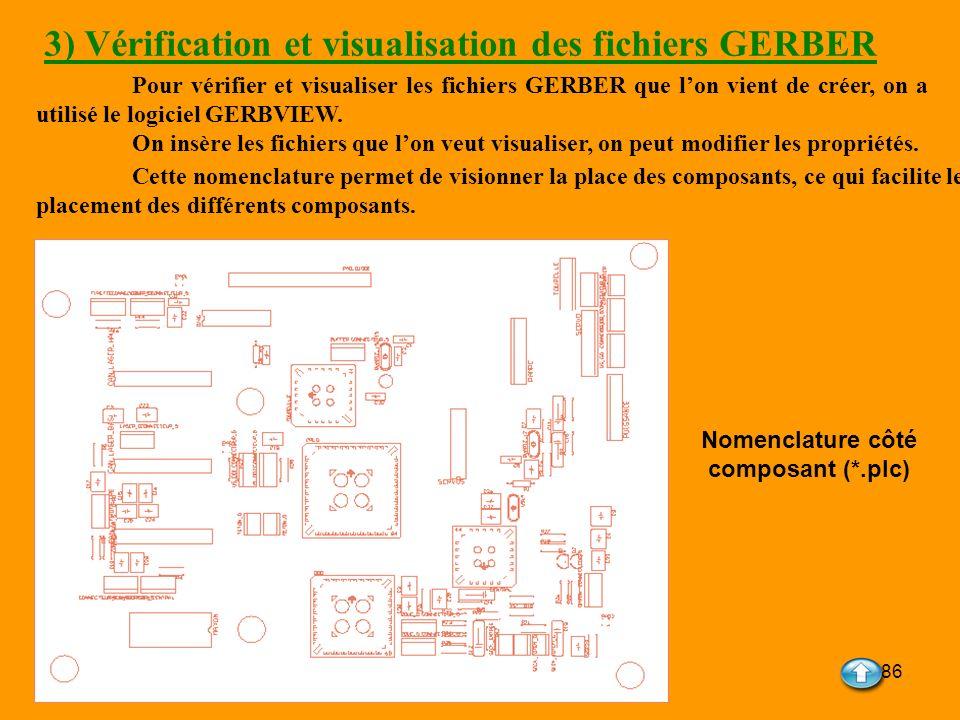 86 3) Vérification et visualisation des fichiers GERBER Pour vérifier et visualiser les fichiers GERBER que lon vient de créer, on a utilisé le logici