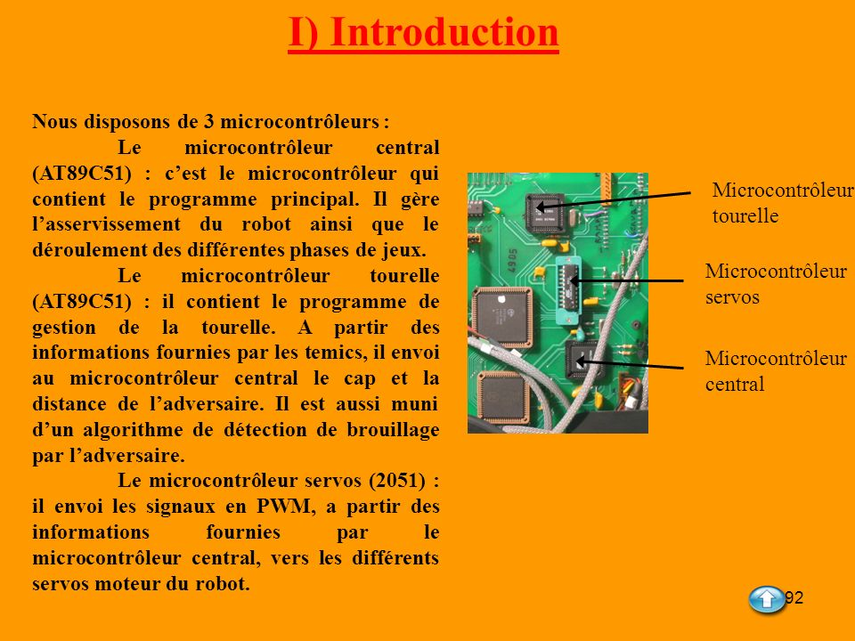 92 I) Introduction Nous disposons de 3 microcontrôleurs : Le microcontrôleur central (AT89C51) : cest le microcontrôleur qui contient le programme pri