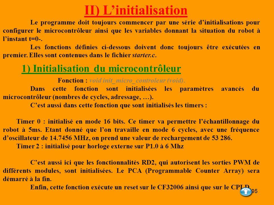 95 II) Linitialisation Le programme doit toujours commencer par une série dinitialisations pour configurer le microcontrôleur ainsi que les variables