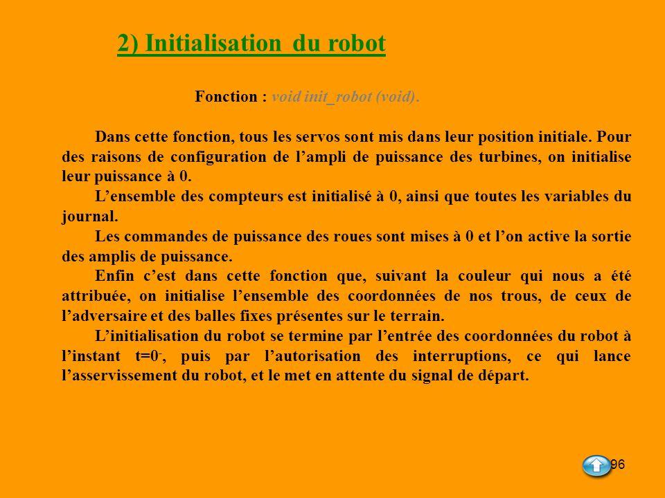 96 2) Initialisation du robot Fonction : void init_robot (void). Dans cette fonction, tous les servos sont mis dans leur position initiale. Pour des r