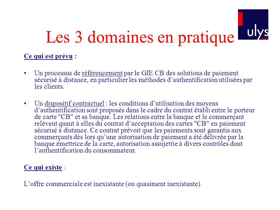 Les 3 domaines en pratique Ce qui est prévu : Un processus de référencement par le GIE CB des solutions de paiement sécurisé à distance, en particulie