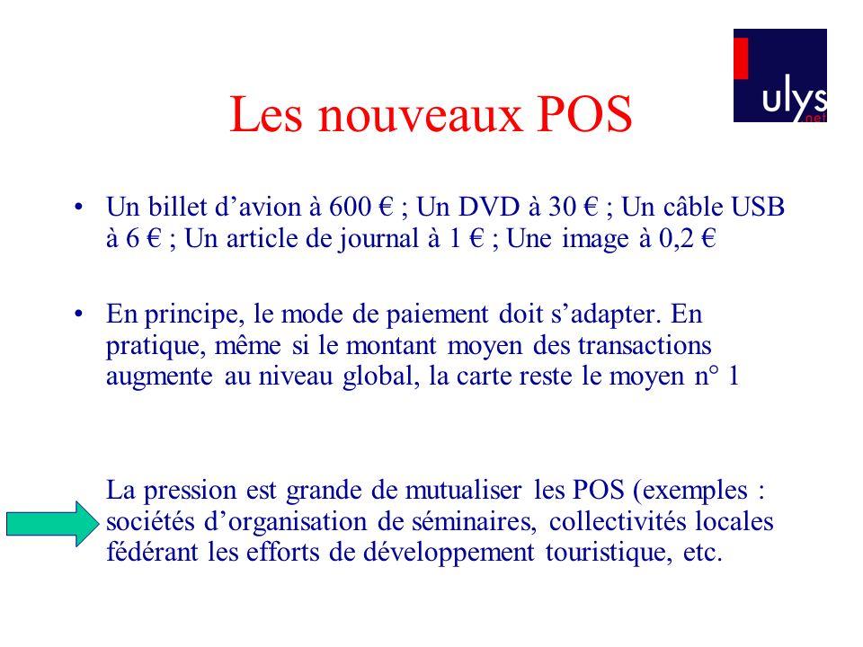 Les nouveaux POS Un billet davion à 600 ; Un DVD à 30 ; Un câble USB à 6 ; Un article de journal à 1 ; Une image à 0,2 En principe, le mode de paiemen