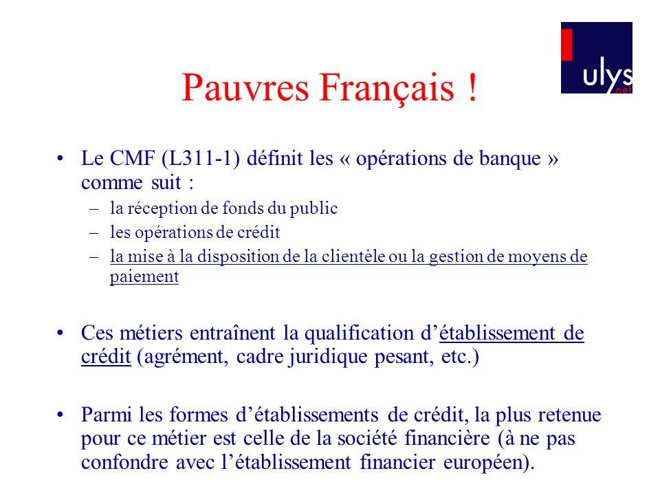 Pauvres Français ! Le CMF (L311-1) définit les « opérations de banque » comme suit : –la réception de fonds du public –les opérations de crédit –la mi