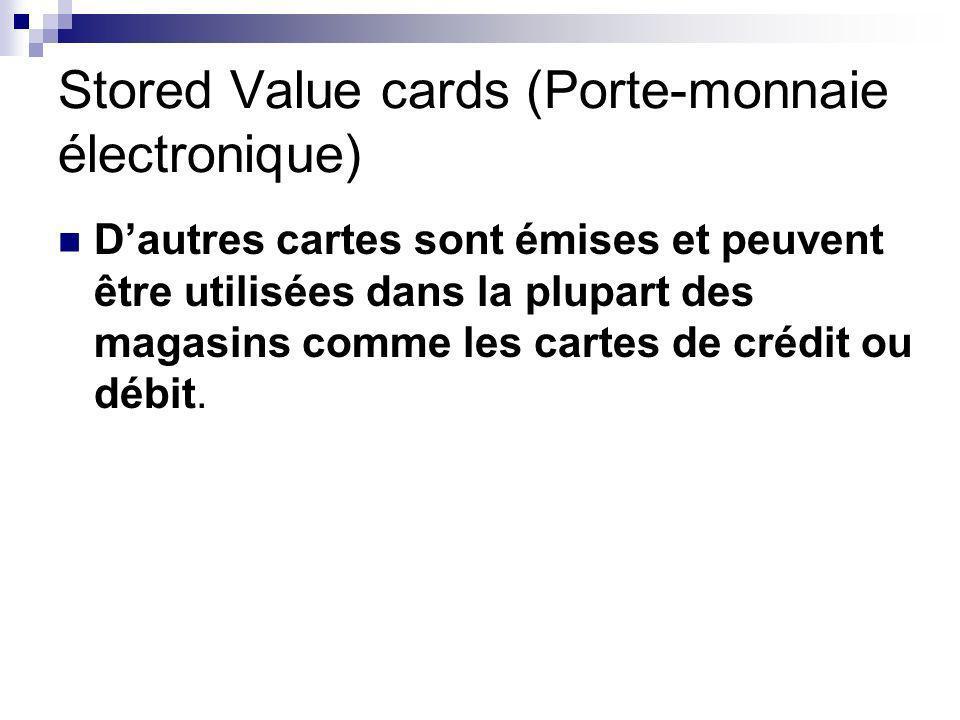 Stored Value cards (Porte-monnaie électronique) Dautres cartes sont émises et peuvent être utilisées dans la plupart des magasins comme les cartes de crédit ou débit.