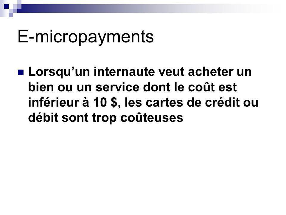 E-micropayments Lorsquun internaute veut acheter un bien ou un service dont le coût est inférieur à 10 $, les cartes de crédit ou débit sont trop coûteuses